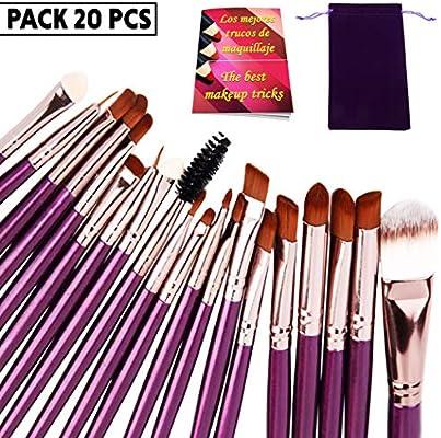 Brochas de maquillaje profesional set 20 uds de alta gama pinceles maquillaje ojos con estuche para llevar y revista trucos de maquillaje cerdas sinteticas suaves: Amazon.es: Belleza