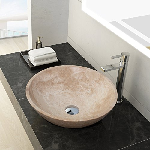 MAYKKE Helena 16 Inch Round Bathroom Stone Sink, Beige and White Natural Stone Travertine Sinks for Bathroom Vanity, Modern Vessel Sink in White Jade Travertine, (16 Lava Stone)