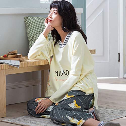 Primavera Y Populares Con V De Otoño Dormir Ropa Larga Yellow Mujeres Light La Regalos Pijamas Suaves Cuello Piel En El Mujer Amigables Algodón Manga Para 6WdnqOU