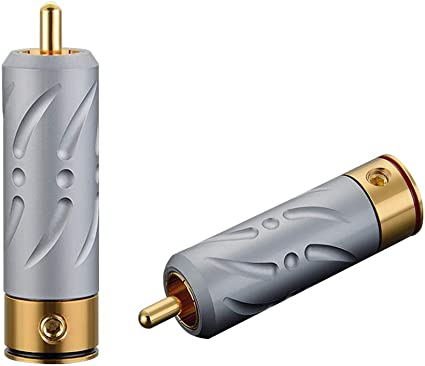 24K Gold Plated Silver RCA Copper Audio Video Connectors 4 Plugs Set