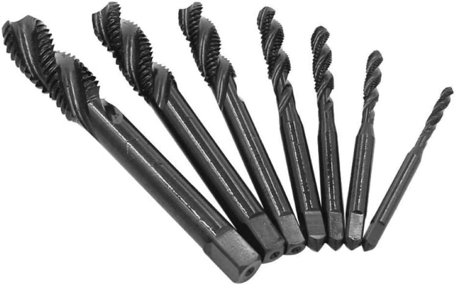 OUPPENG Industrial Rotary 7pcs M3-M12 6542 Nitriding Coated Tap,Thread Spiral Metric Screw Tap Set Drill Bits Drilling Woodworking Tools Drill Bits Cutting