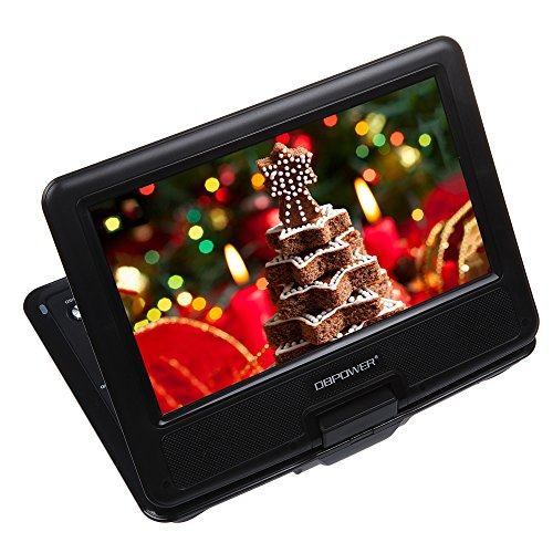 """UPC 606000102838, DBPOWER 9.5"""" Portable DVD Player with Swivel Screen, Supports SD Card and USB, Direct Play in Formats MP4/AVI/RMVB/MP3/JPEG (Black)"""