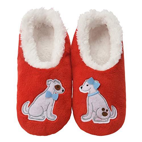 - Snoozies Womens Classic Splitz Applique Slipper Socks | Love Pups | Medium