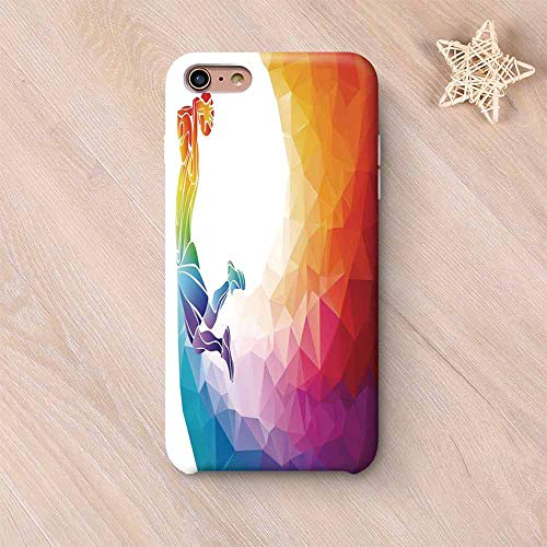Apartment Decor Stylish Compatible with iPhone Case,Rainbow Colored Theme with a Basketball Player Sports Man Jumps Print Compatible with iPhone X,iPhone 6 Plus / 6s Plus