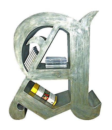 Elegant Calligraphy Letter A Shelf | Freestanding Book Curio Silver by Intelligent Design