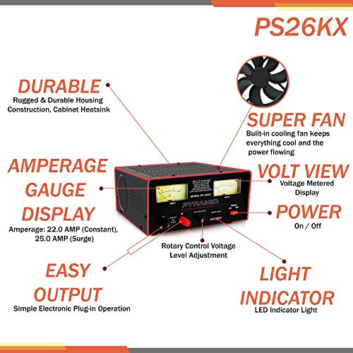 Pyramid Bench Power Supply | AC-to-DC Power Converter | 22 Amp Power Supply with Adjustable Voltage Control (PS26KX) by Pyramid (Image #2)
