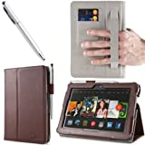 i-BLASON Kindle Fire HDX 7 inch Tablet Leather Case Cover / Stylus (Automatically Wakes and Puts the Kindle Fire HDX to Sleep) (Not Compatible with Kindle Fire HD 7) One Year Warranty (Brown)