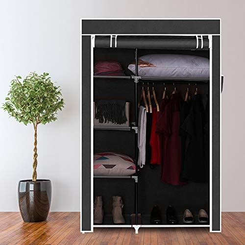 Goujxcy Portable Clothes Closet Non-Woven Fabric Wardrobe Double Rod Storage Organizer Black 64-Inch