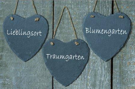 Schwarzes Schieferschild Herz Gartenschild Schild mit Spruch 19cm (Traumgarten)