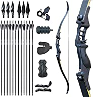 """Tongtu 52.3"""" Recurve Bow and Arrow Archery Set for Adult Right Handed Hunting Bow Kit 30 35 40 45 50lbs f"""
