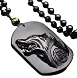 pure Hand Carved Natural Genuine Obsidian Howling Wolf Head Amulet Necklace Pendant