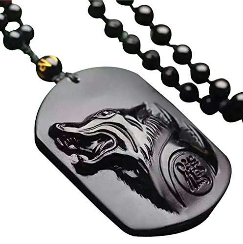- c1lint7785631 pure Hand Carved Natural Genuine Obsidian Howling Wolf Head Amulet Necklace Pendant