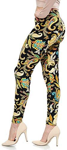 LMB Lush Moda Extra Soft Leggings with Designs- Variety of Prints - 766F Floral Paisley B5