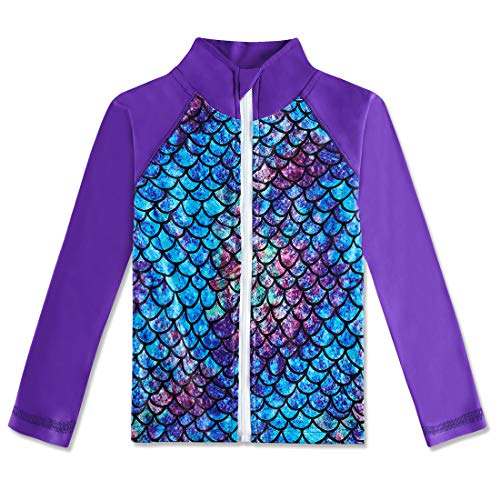 Girls Mermaid Long Sleeve Rashguard Shirts Kids Cute One Piece Zipper Rash Guard Swimsuit UPF 50+ Sun Protection Purple Fish Scales Sun Shirt for Outside Holiday 2 3T