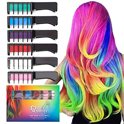 Qivange Hair Chalk Comb for Christmas Gift 6 Color Hair Chalk Non-Toxic Washable Temporary Bright Hair Color Dye for Kids Girls Adult Birthday Cosplay Party Makeup (Cosplay Ideas For Girls With Brown Hair)