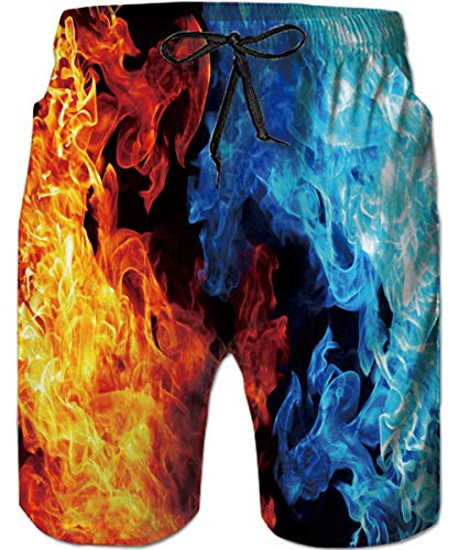 TUONROAD 3D Prints Swim Board Shorts Colorful Red Black Yellow Orange Fire Smoke Royal Blue Teal Ice Male Swim Trunks Bright Colored Swimming Costume with Pockets for Adult Youth Toddler Male -