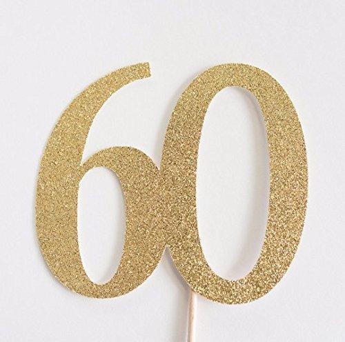 Gold Glitter 60 Cake Topper, 60th Anniversary, Sixtieth Birthday