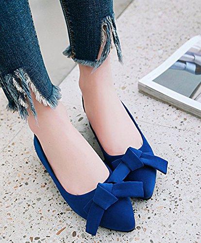 Cheville Classique Plates Femme Ballerines Fille Chaussures Aisun Noeud Bleu 7xqXt5wtA
