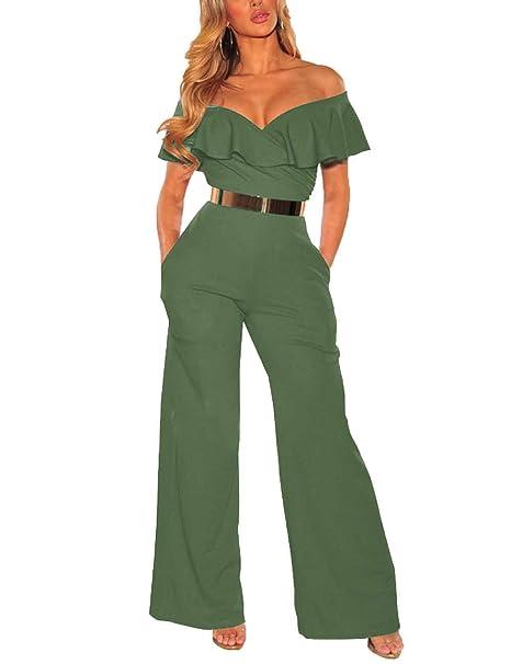 1b318503c8ae PARTY LADY Women Off Shoulder High Waist Long Wide Leg Pants Jumpsuit Romper  Size S Army