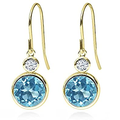 Gem Stone King 5.32 Ct Round Swiss Blue Topaz 14K Yellow Gold Earrings