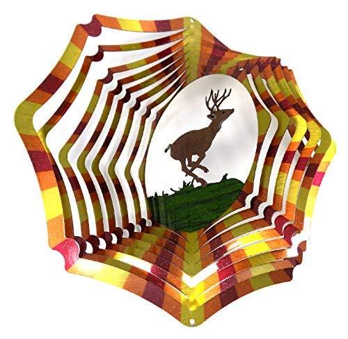 - WorldaWhirl Whirligig 3D Wind Spinner Hand Painted Stainless Steel Twister Deer (12 Inc, Multi Color)