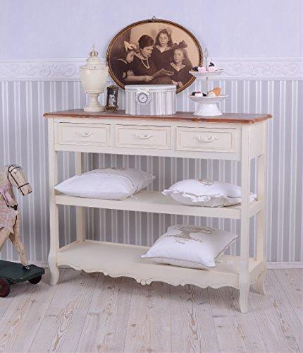 Antike Anrichte, Konsole, Sideboard, Regal, Ablage in Villa-Vintage-Art, aus Holz in der Farbe Weiß, einzigartig schönes Möbelstück - Palazzo Exclusive