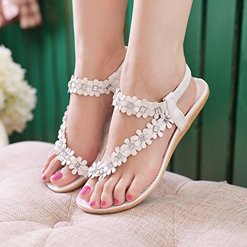 fragile confortevole bianco fascetta base Sandali elastico ragazze pantofole della Donna sandali piana piedi donne cool 37 fiore yalanshop EPaUwq