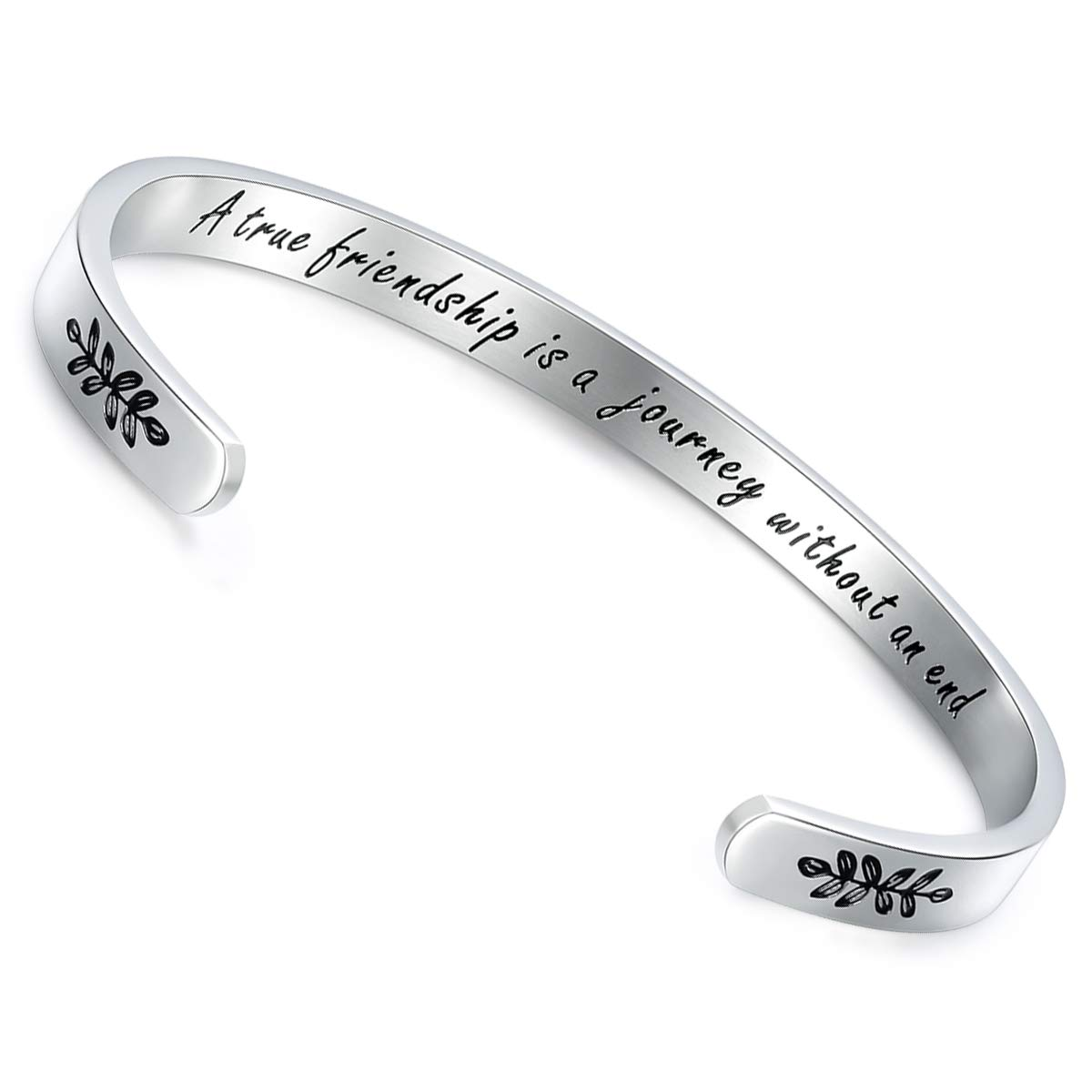CERSLIMO Friendship Gifts for Women Best Friend Bracelet,Stainless Steel Personalized Inspirational Mantra Quote Bracelets Cuff Bangle Friendship Encouragement Birthday Gifts for Woman Girls