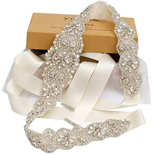 Yanstar Handmade Crystal Beads Rhinestone Bridal Wedding Belt Sash With Cream Ivory Ribbon For Bridal Wedding PartyGowns Dress ()