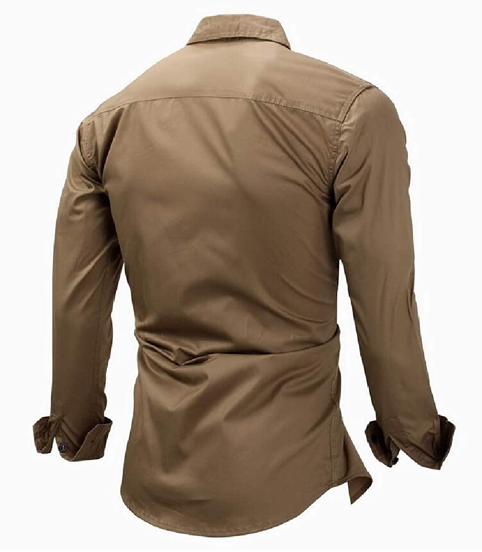 Etecredpow Mens Pocket Casual Lapel Neck Curved Hem Outwear Long Sleeve Button Down Shirts