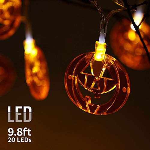 9.8ft 20 LEDs String Lights with Flat Pumpkins Pendants, Spooky Halloween, Outdoor IP67 Waterproof Copper Wire Decorative Lights, Battery Powered, 8 Modes