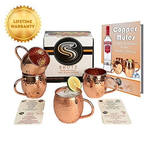Solid Copper Moscow Mule Copper Mugs Handcrafted 100% Pure Hammered Copper 16 Oz Authentic Cups with Copper Handle Set of 4 Bonus FREE Set of 4 Coasters Free Recipe E-Book & Solid Copper Shot glass!