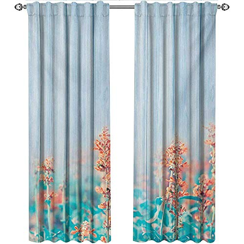 shenglv Floral, Curtains Energy Efficient, Flourishing Flowers Floral Blooms Garden Country House on Oak Plank Image Art, Curtains for Living Room, W96 x L108 Inch, Coral Sky Blue