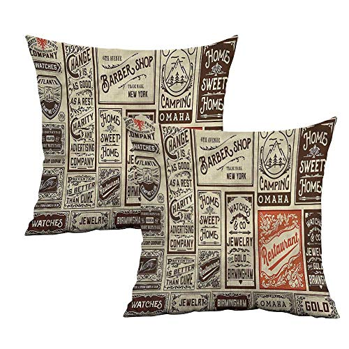 "Khaki home Antique Square Body Pillowcase Pack Old Advertising Square Kids Pillowcase Cushion Cases Pillowcases for Sofa Bedroom Car W 14"" x L 14"" 2 pcs"