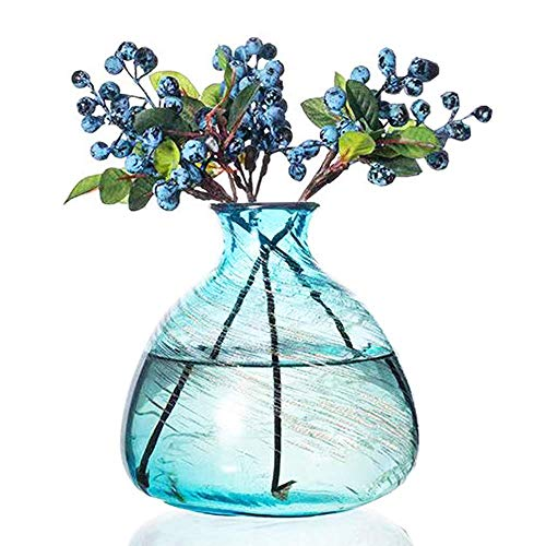 Affomo Blue Flower Vase Decorative Art Glass Home Decor (Teal Glass)