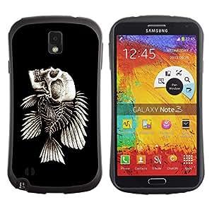 Suave TPU Caso Carcasa de Caucho Funda para Samsung Note 3 N9000 N9002 N9005 / Fish Skeleton / STRONG