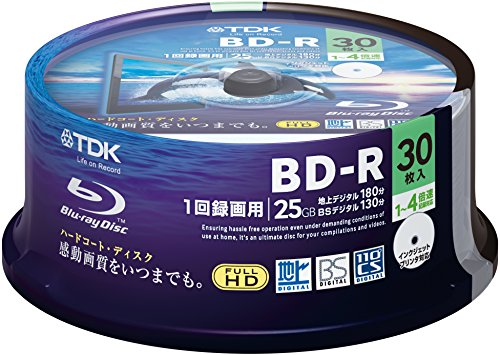 TDK Blu-ray Disc 30 Spindle - 25GB 4X BD-R - Printable by TDK