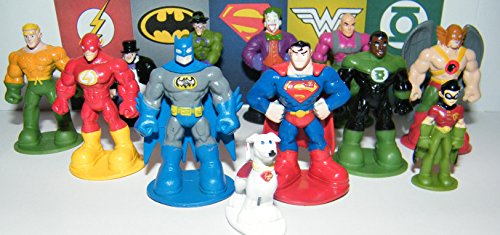 DC Superheroes Batman Superman Justice League Figure Set Toy of 12 with the Flash, Green Lantern, Krypto, the Joker Etc with Special - League Boxes Justice