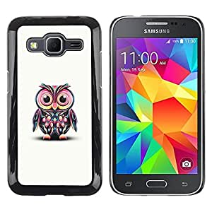 Be Good Phone Accessory // Dura Cáscara cubierta Protectora Caso Carcasa Funda de Protección para Samsung Galaxy Core Prime SM-G360 // Pink Owl Art Colorful Cartoon Character