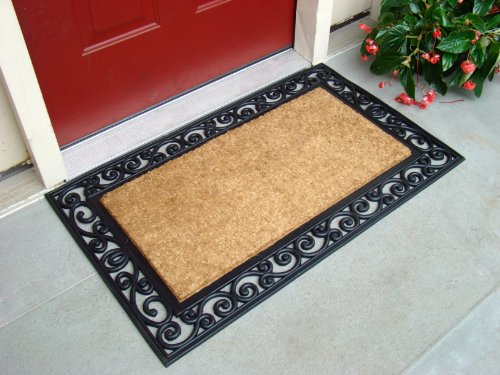 1/2 Round Door Mat - Kempf Inlaid Scroll Coco Doormat, 24 by 39 by 0.5-Inch