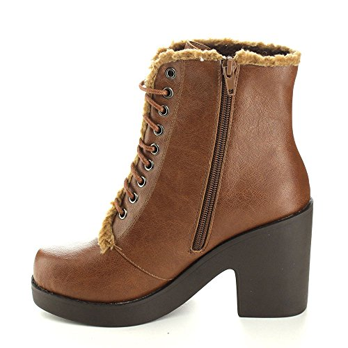 C-label Mercy-1 Mujeres Lace Up Forro De Piel Sintética Zip Lateral Chunky Heel Botín Warm Botaie, Color: Light Brown, Tamaño: 7.5