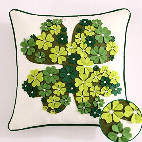 Cassiel Home Shamrock St Patrick's Day Pillow Covers 18x18 Green Embroidery Clovers IrishPillow Applique Diamond Throw Pillow Cover 18x18 inch White Spring Green