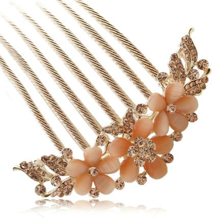 FINGER LOVE France Luxury Pearl Rhinestone Floral 6 Tooth Vantage Handmade French Twist Comb (AChampagne)