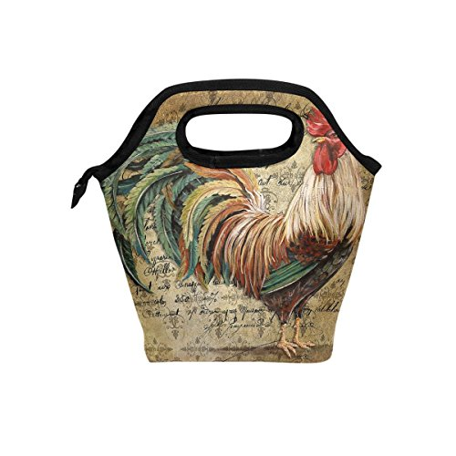 Florence Animal Rooster Cooler Warm Pouch Lunch Bags Lunchbox For School Work Portable Meal Handbags Food Container Tote For Picnic