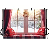 MEHOFOTO 7x5ft Christmas Backdrop Winter Snowflake Pillow Window Moon Wreath Holiday Family Party Kids Photography Background Decoration Photo Studio Props