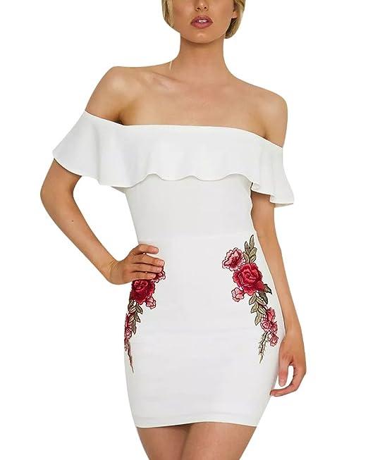Vestidos Ajustados Mujer Tubo Floral Impresión Hombro Desnudo con Volante para Cócteles Banquetes Fiestas Blanco 2XL