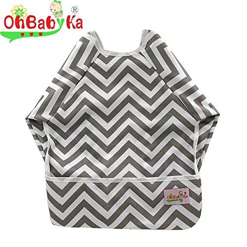 OHBABYKA Baby Waterproof Sleeved Bib Long Sleeve Bib for Infant Toddler,6-24 Months (Grey wave)