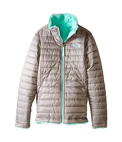 The North Face Kids Girls Reversible Mossbud Swirl Jacket (Little Big Kids), Metallic Silver 2XS (5 (Mission Jacket Insulated)