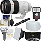 Sony Alpha E-Mount FE 100-400mm f/4.5-5.6 GM OSS Zoom Lens Flash + Soft Box + Diffuser + 3 Filters + Kit