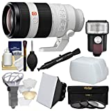 Sony Alpha E-Mount FE 100-400mm f/4.5-5.6 GM OSS Zoom Lens with Flash + Soft Box + Diffuser + 3 Filters + Kit